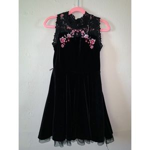 Other - Girls Black Velvet Dress With Lace Neck